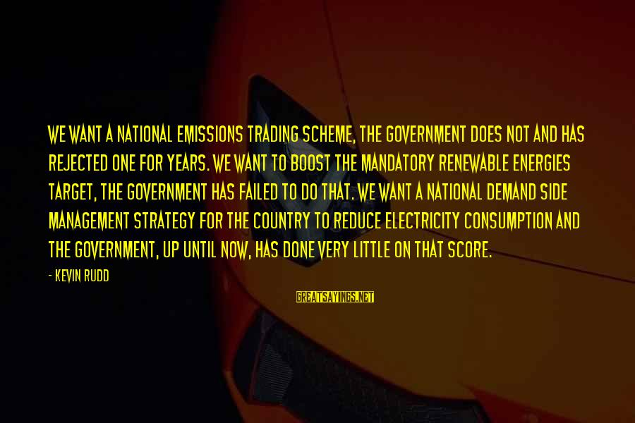 Demand Management Sayings By Kevin Rudd: We want a national emissions trading scheme, the Government does not and has rejected one