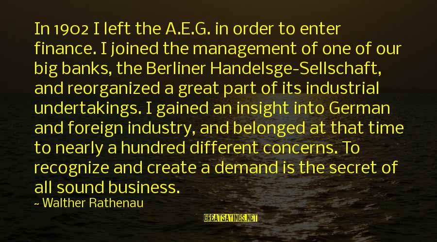 Demand Management Sayings By Walther Rathenau: In 1902 I left the A.E.G. in order to enter finance. I joined the management