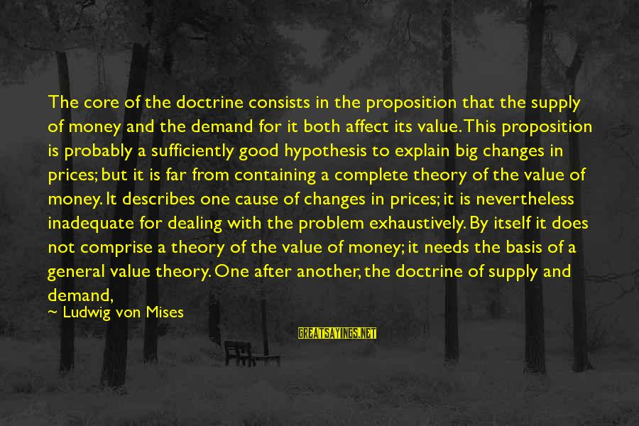 Demand Vs Supply Sayings By Ludwig Von Mises: The core of the doctrine consists in the proposition that the supply of money and