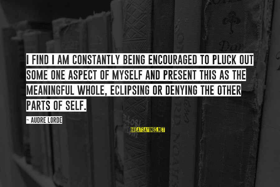 Denying Self Sayings By Audre Lorde: I find I am constantly being encouraged to pluck out some one aspect of myself
