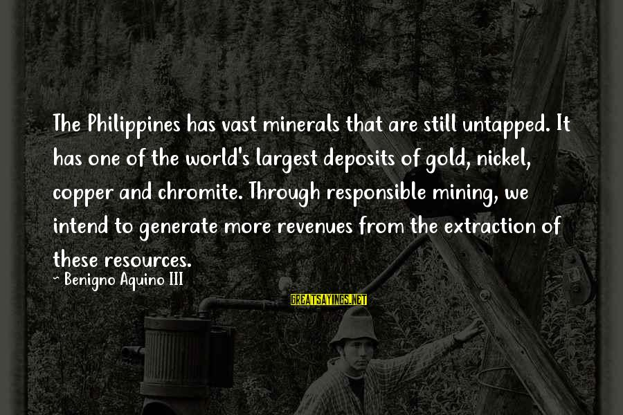 Deposits Sayings By Benigno Aquino III: The Philippines has vast minerals that are still untapped. It has one of the world's