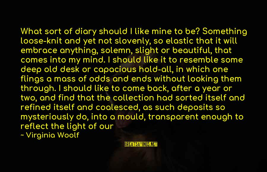 Deposits Sayings By Virginia Woolf: What sort of diary should I like mine to be? Something loose-knit and yet not