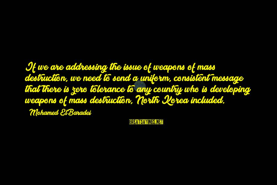 Destruction Of Country Sayings By Mohamed ElBaradei: If we are addressing the issue of weapons of mass destruction, we need to send