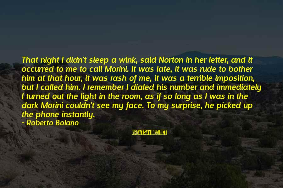 Dialed Sayings By Roberto Bolano: That night I didn't sleep a wink, said Norton in her letter, and it occurred