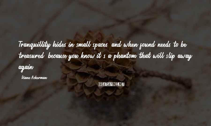 Diane Ackerman Sayings: Tranquillity hides in small spaces, and when found needs to be treasured, because you know