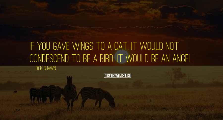 Dick Shawn Sayings: If you gave wings to a cat, it would not condescend to be a bird.