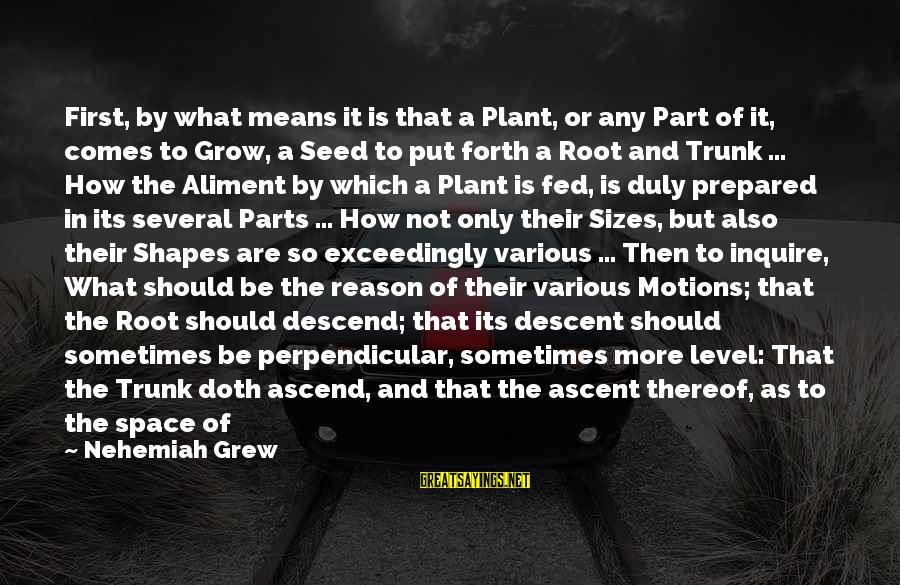 Different Time Periods Sayings By Nehemiah Grew: First, by what means it is that a Plant, or any Part of it, comes