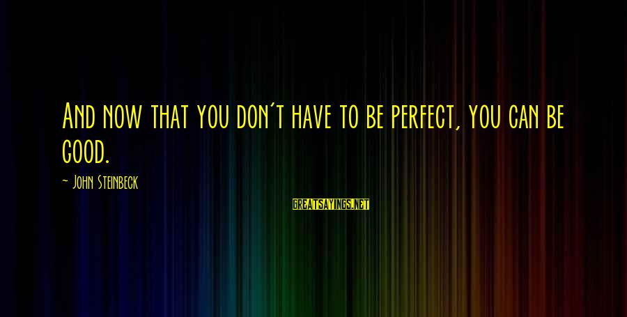 Diffi Sayings By John Steinbeck: And now that you don't have to be perfect, you can be good.