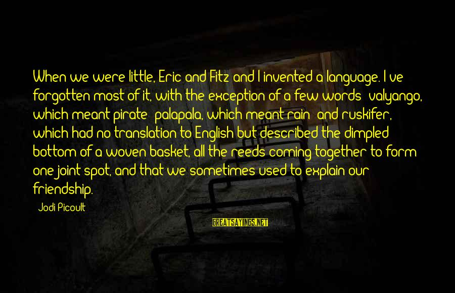 Dimpled Sayings By Jodi Picoult: When we were little, Eric and Fitz and I invented a language. I've forgotten most