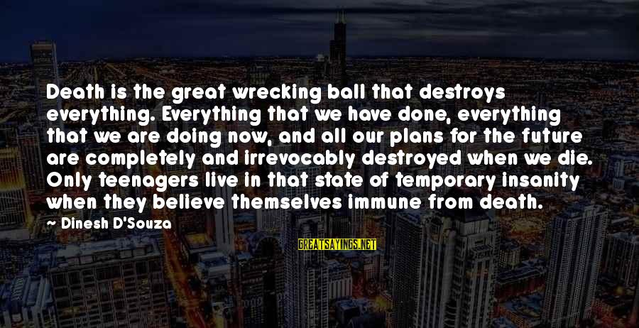 Dinesh Sayings By Dinesh D'Souza: Death is the great wrecking ball that destroys everything. Everything that we have done, everything