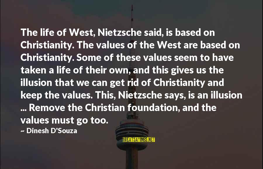 Dinesh Sayings By Dinesh D'Souza: The life of West, Nietzsche said, is based on Christianity. The values of the West