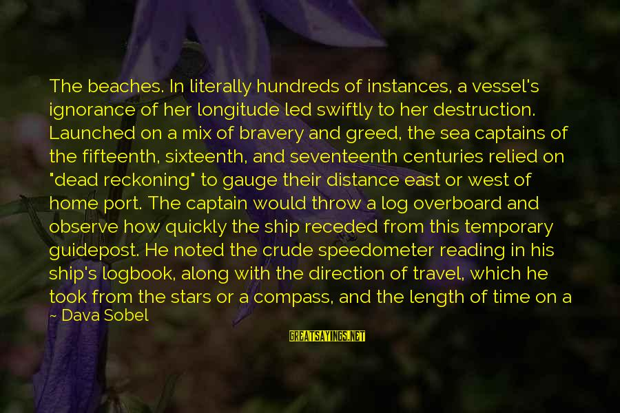 Direction Compass Sayings By Dava Sobel: The beaches. In literally hundreds of instances, a vessel's ignorance of her longitude led swiftly