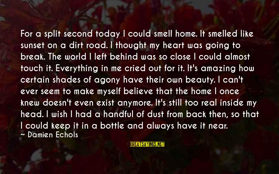 Dirt's Sayings By Damien Echols: For a split second today I could smell home. It smelled like sunset on a