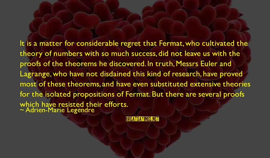 Disdained Sayings By Adrien-Marie Legendre: It is a matter for considerable regret that Fermat, who cultivated the theory of numbers