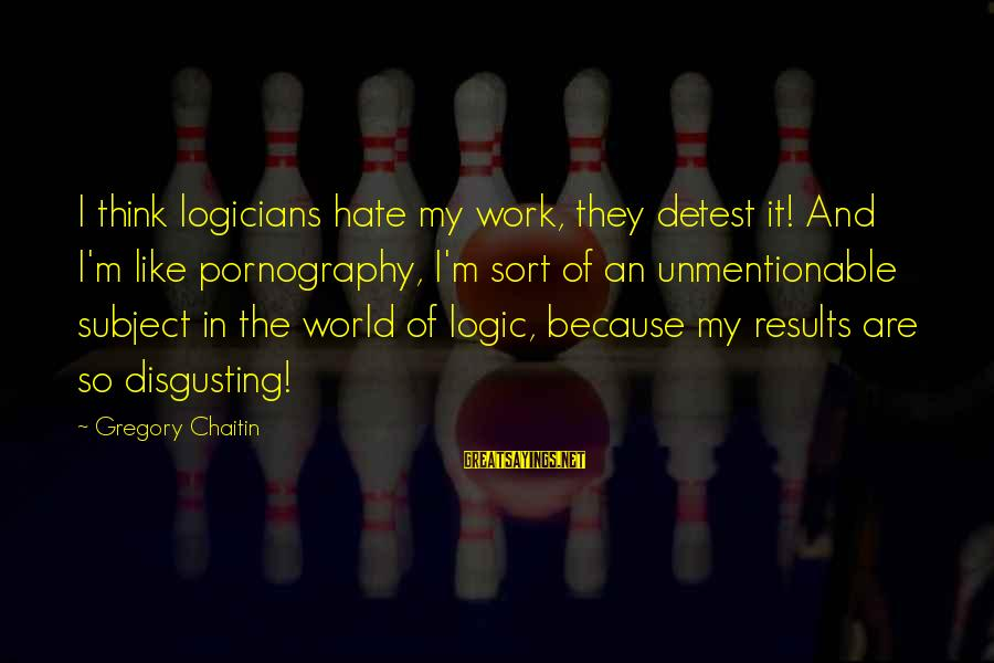 Disgusting World Sayings By Gregory Chaitin: I think logicians hate my work, they detest it! And I'm like pornography, I'm sort