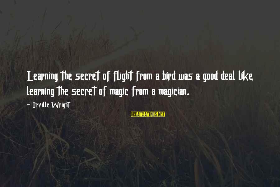 Disney Villain Sayings By Orville Wright: Learning the secret of flight from a bird was a good deal like learning the
