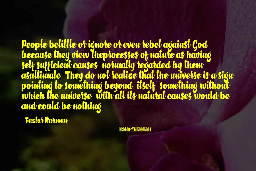 Do Not Belittle Sayings By Fazlur Rahman: People belittle or ignore or even rebel against God, because they view theprocesses of nature
