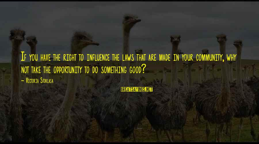 Do Something Right Sayings By Victoria Stoklasa: If you have the right to influence the laws that are made in your community,