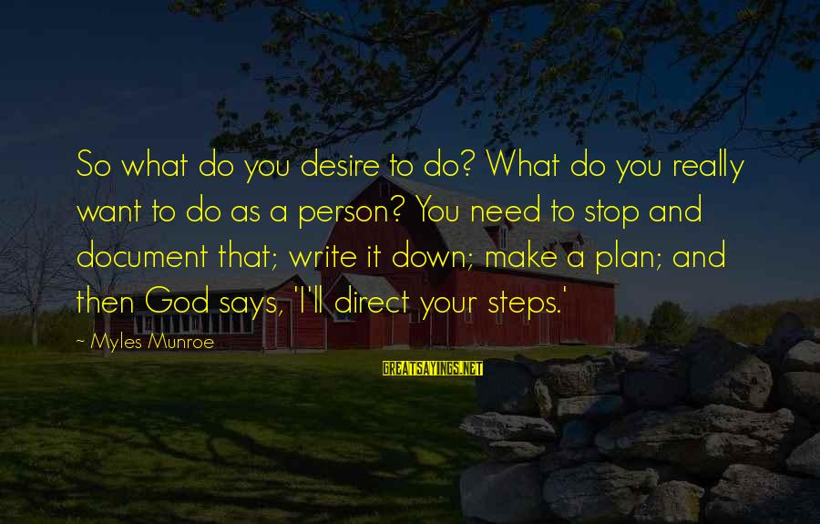 Do What You Desire Sayings By Myles Munroe: So what do you desire to do? What do you really want to do as