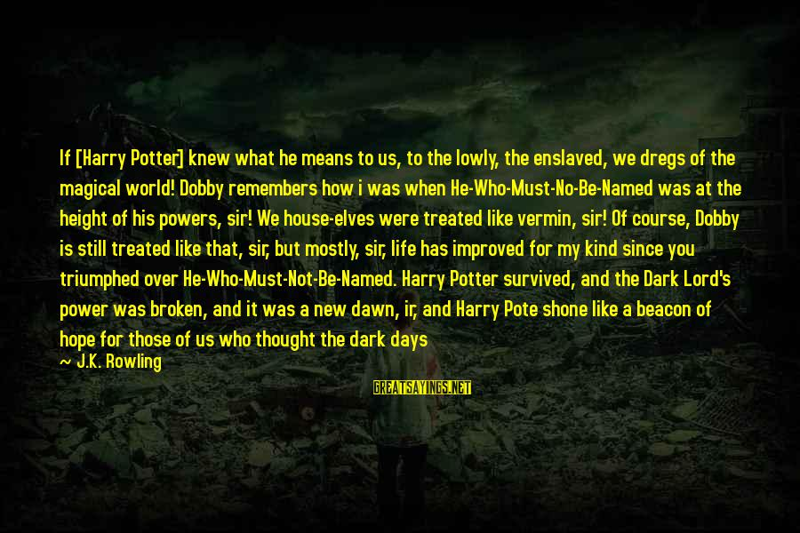 Dobby Sayings By J.K. Rowling: If [Harry Potter] knew what he means to us, to the lowly, the enslaved, we