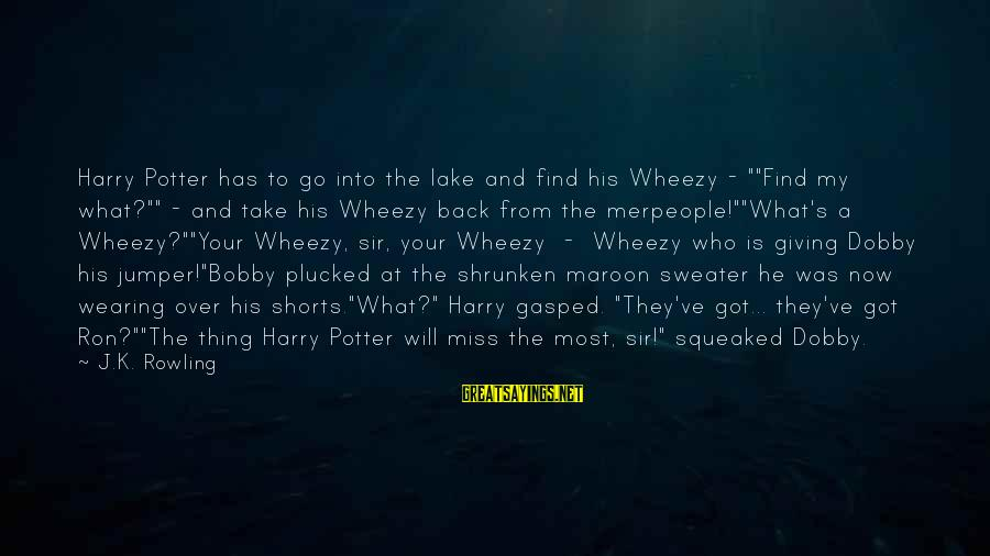"""Dobby Sayings By J.K. Rowling: Harry Potter has to go into the lake and find his Wheezy - """"""""Find my"""