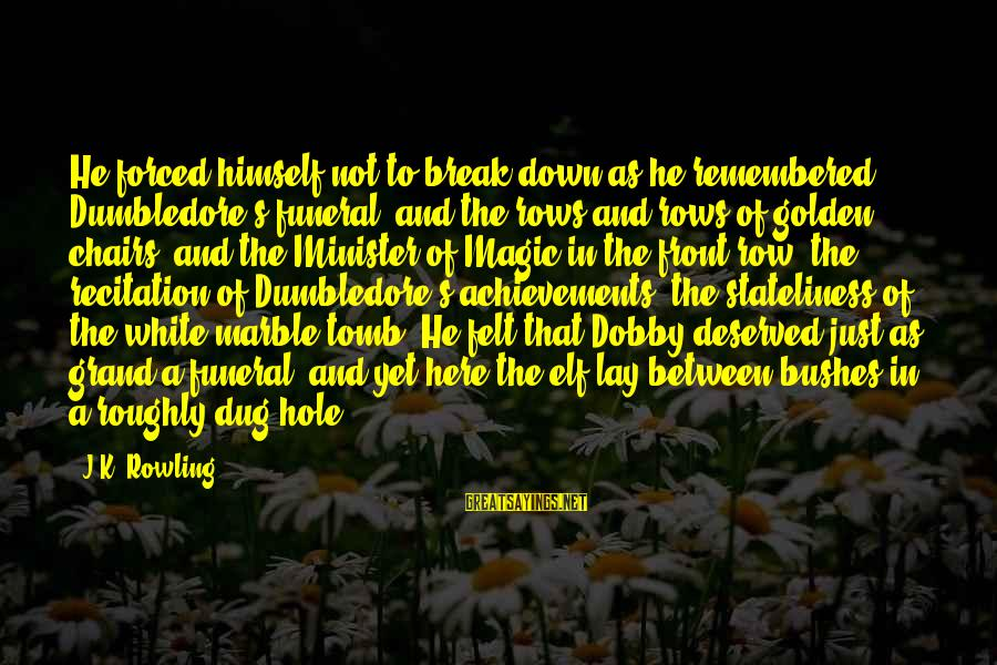 Dobby Sayings By J.K. Rowling: He forced himself not to break down as he remembered Dumbledore's funeral, and the rows