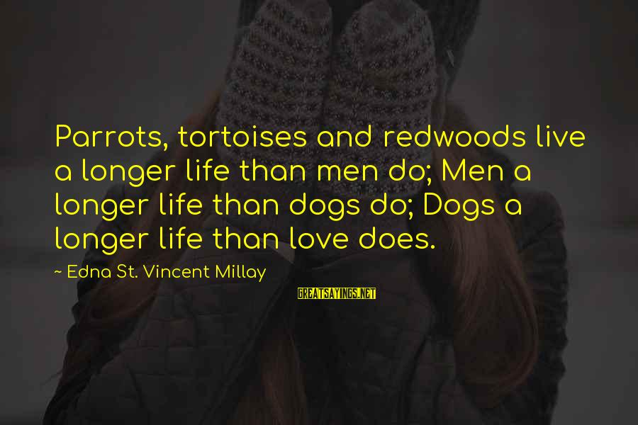 Dogs Love Sayings By Edna St. Vincent Millay: Parrots, tortoises and redwoods live a longer life than men do; Men a longer life
