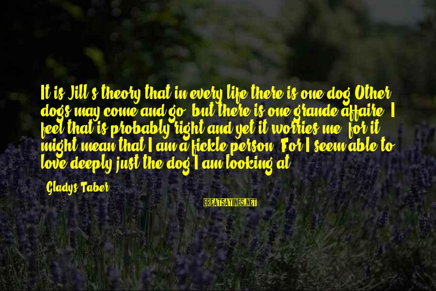 Dogs Love Sayings By Gladys Taber: It is Jill's theory that in every life there is one dog.Other dogs may come