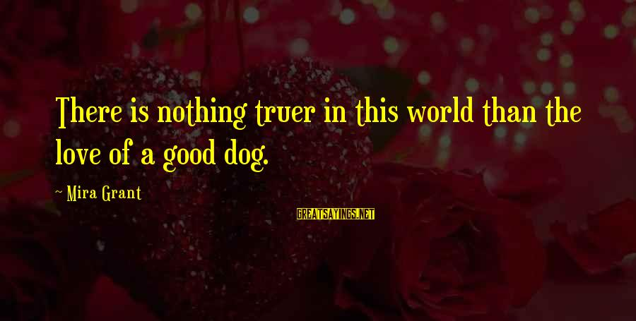 Dogs Love Sayings By Mira Grant: There is nothing truer in this world than the love of a good dog.