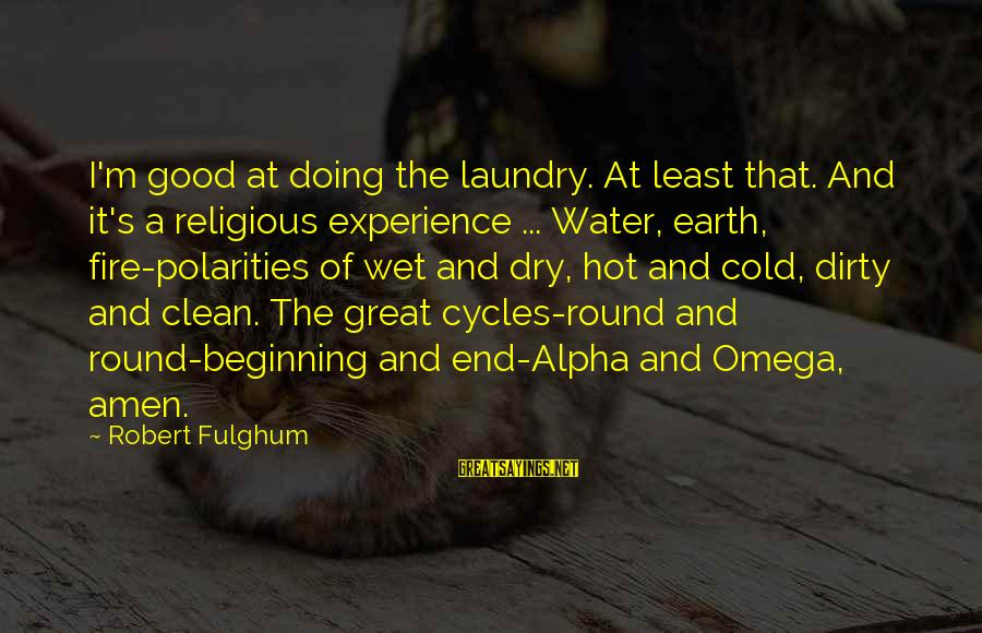 Doing Great Work Sayings By Robert Fulghum: I'm good at doing the laundry. At least that. And it's a religious experience ...