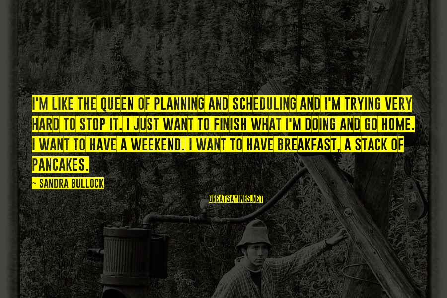 Doing It Hard Sayings By Sandra Bullock: I'm like the queen of planning and scheduling and I'm trying very hard to stop