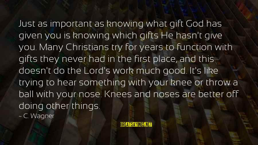 Doing Much Better Sayings By C. Wagner: Just as important as knowing what gift God has given you is knowing which gifts