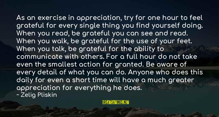 Doing Your Thing Sayings By Zelig Pliskin: As an exercise in appreciation, try for one hour to feel grateful for every single