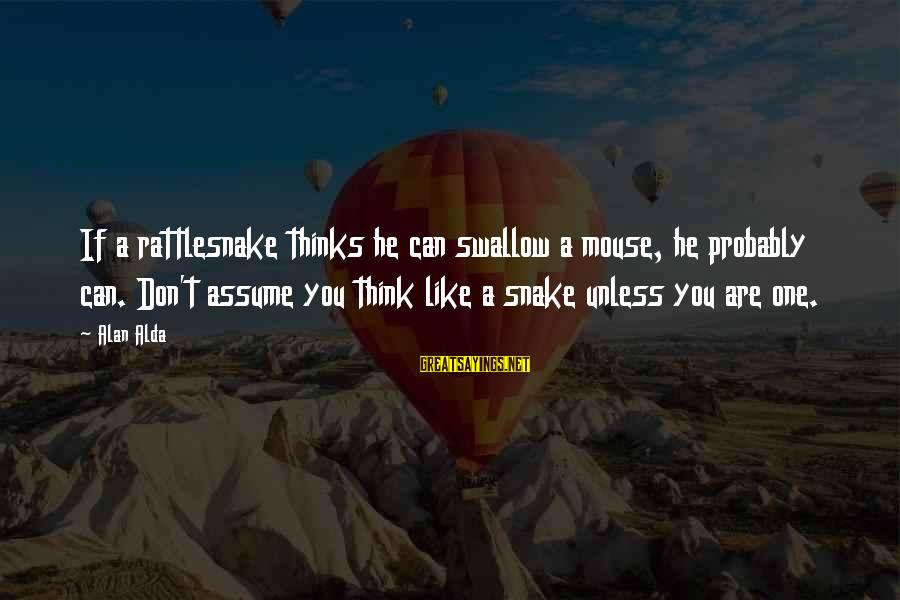 Don Assume Sayings By Alan Alda: If a rattlesnake thinks he can swallow a mouse, he probably can. Don't assume you