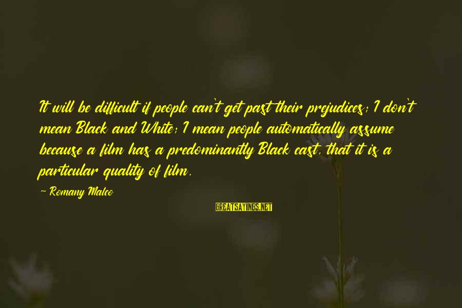 Don Assume Sayings By Romany Malco: It will be difficult if people can't get past their prejudices; I don't mean Black