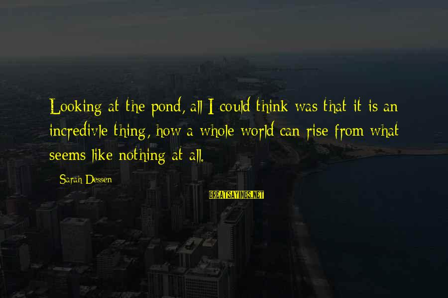 Don Everly Sayings By Sarah Dessen: Looking at the pond, all I could think was that it is an incredivle thing,