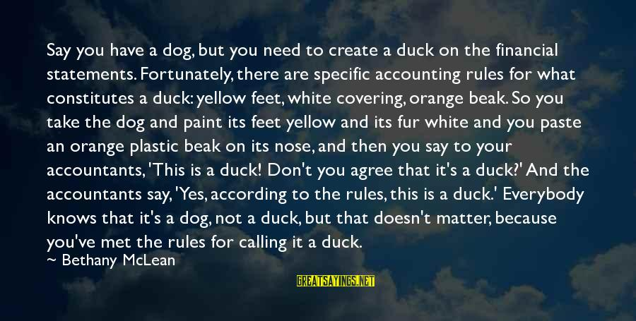 Don Mclean Sayings By Bethany McLean: Say you have a dog, but you need to create a duck on the financial