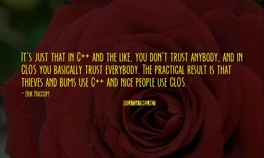 Don Trust Too Much Sayings By Erik Naggum: It's just that in C++ and the like, you don't trust anybody, and in CLOS