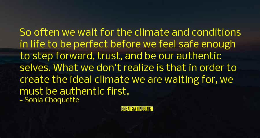 Don Trust Too Much Sayings By Sonia Choquette: So often we wait for the climate and conditions in life to be perfect before