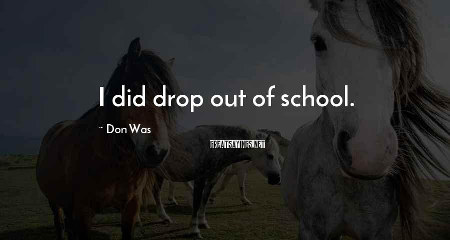 Don Was Sayings: I did drop out of school.