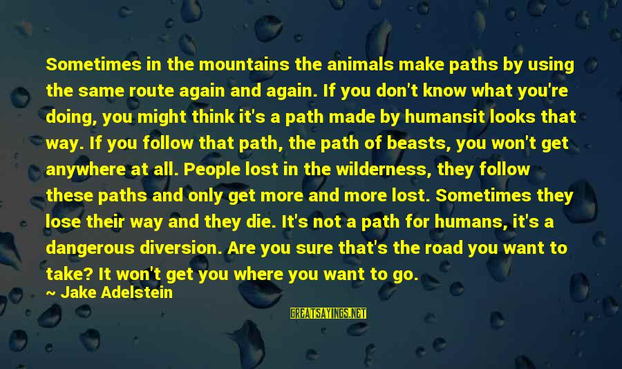 Don't Know What You Lost Sayings By Jake Adelstein: Sometimes in the mountains the animals make paths by using the same route again and