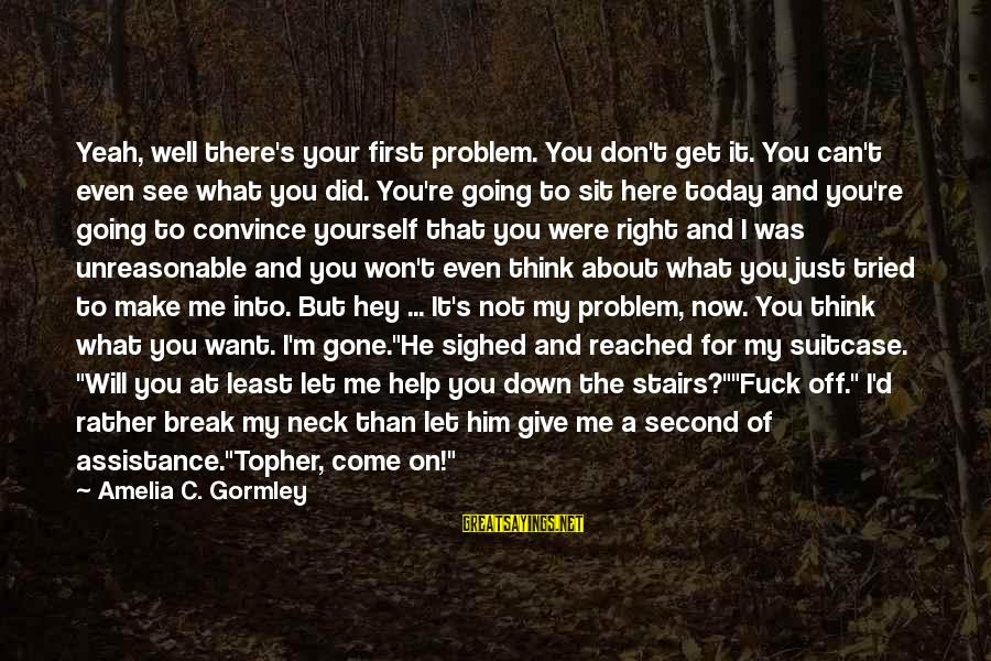 Don't Let Me Down Sayings By Amelia C. Gormley: Yeah, well there's your first problem. You don't get it. You can't even see what