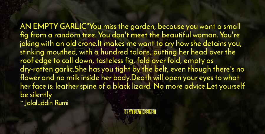 """Don't Let Me Down Sayings By Jalaluddin Rumi: AN EMPTY GARLIC""""You miss the garden, because you want a small fig from a random"""