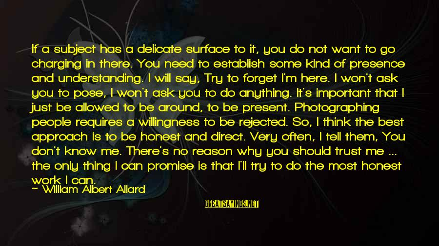Don't Say Promise Sayings By William Albert Allard: If a subject has a delicate surface to it, you do not want to go