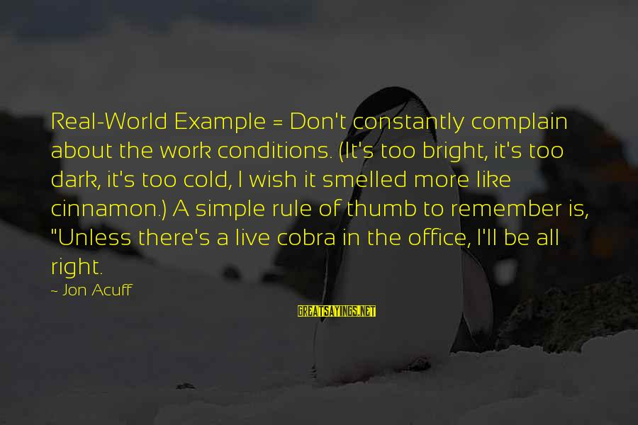 Don't Work To Live Live To Work Sayings By Jon Acuff: Real-World Example = Don't constantly complain about the work conditions. (It's too bright, it's too