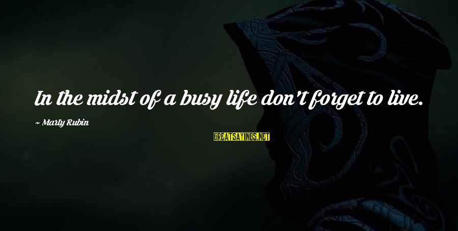 Don't Work To Live Live To Work Sayings By Marty Rubin: In the midst of a busy life don't forget to live.