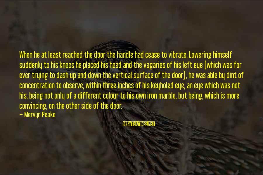 Door Handle Sayings By Mervyn Peake: When he at least reached the door the handle had cease to vibrate. Lowering himself