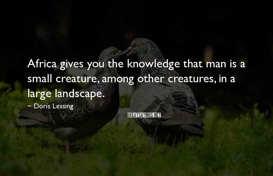 Doris Lessing Sayings: Africa gives you the knowledge that man is a small creature, among other creatures, in