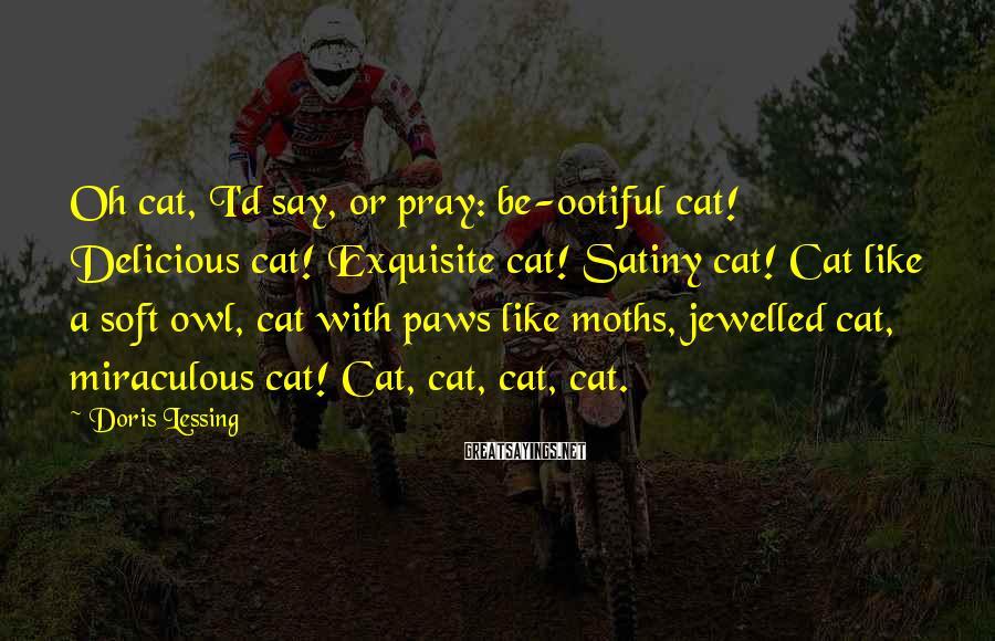 Doris Lessing Sayings: Oh cat, I'd say, or pray: be-ootiful cat! Delicious cat! Exquisite cat! Satiny cat! Cat