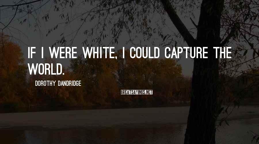 Dorothy Dandridge Sayings: If I were white, I could capture the world.